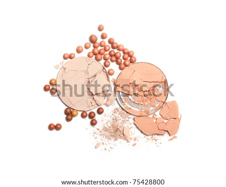 Make up powder on white background - stock photo