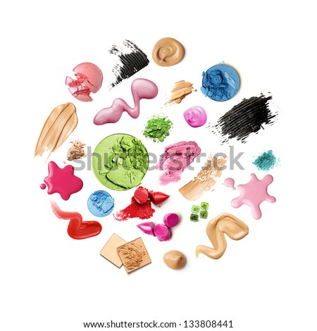 make-up products isolated - stock photo