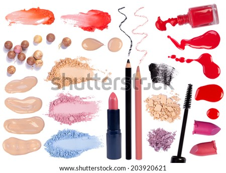Make up products isolated on white background - stock photo
