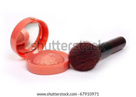 make-up rouge isolated on white - stock photo