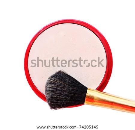 make-up rouge isolated on white - stock photo