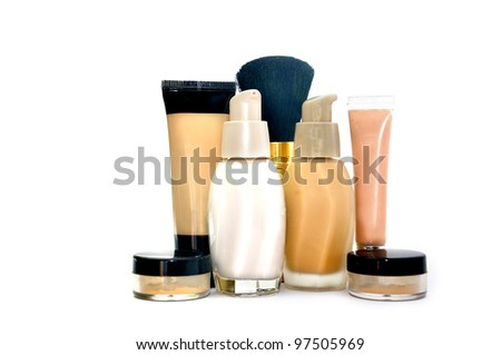 Make up  set foundation, powder, concealer, minerals, base isolated on white - stock photo