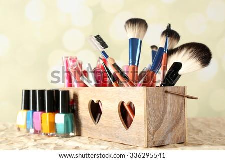 Make up set on bright background - stock photo