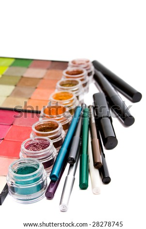 make- up set on white background