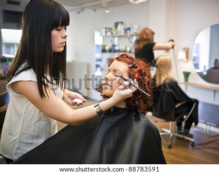 Make-up situation in a Beauty spa - stock photo