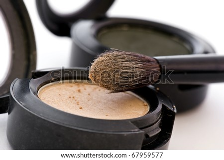 make up with brush - stock photo