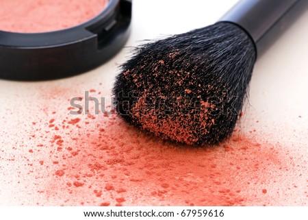 make up with buki brush - stock photo