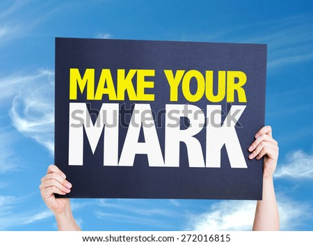 Make Your Mark card with sky background - stock photo