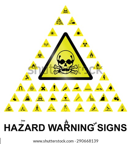 Make your own hazard warning sign with main central sign and forty related hazard warning graphics isolated on white background - stock photo
