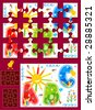 Make your own jigsaw puzzle kit - full page illustration, cutting guidelines, ready made pieces - or use as design elements ( for vector EPS see image 28885318 )  - stock photo