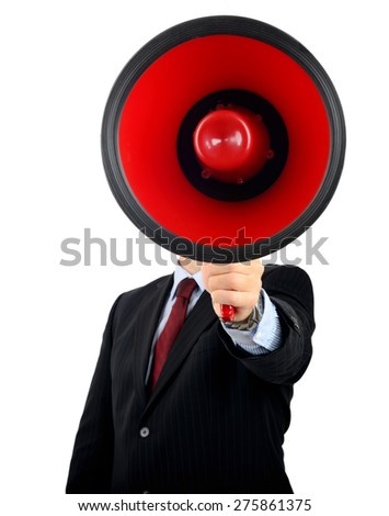 Make yourself heard with a very large megaphone - stock photo