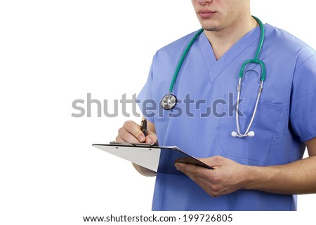 Makes a professional physician notes. Medical practice. - stock photo