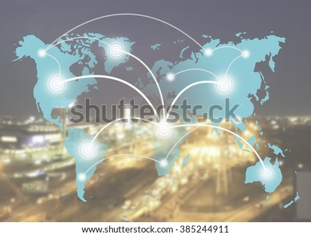 maketing online or e learning with global learning link on world map sky color tone on over blur or blurred night city with light on the way background. learning or education with technology concept. - stock photo