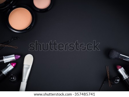 Makeup accessories  table.Top view - stock photo