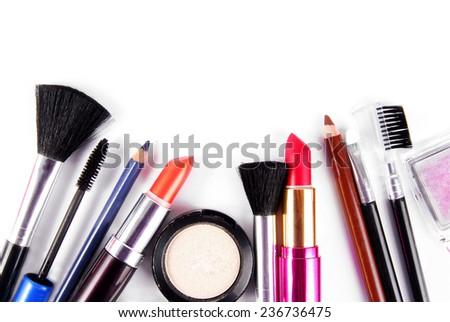 makeup and brushes cosmetic set isolated on white - stock photo