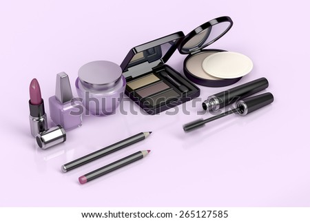 Makeup and cosmetic set on shiny pink background - stock photo