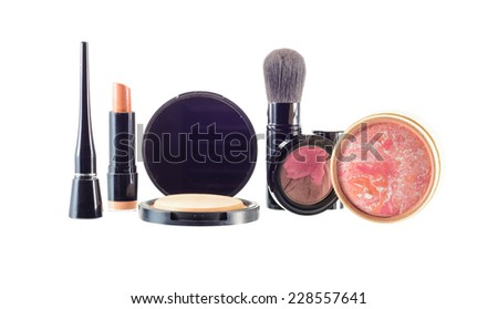 makeup  and cosmetics beauty isolated on white