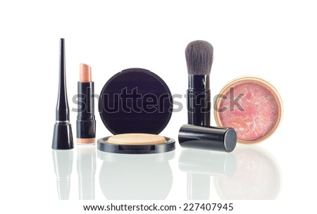 makeup and cosmetics with drop shadow isolated on white