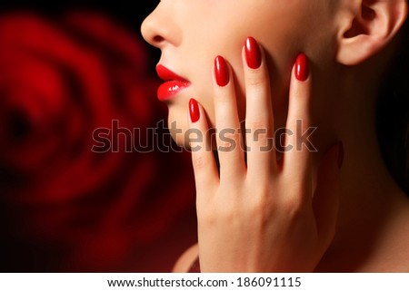 Makeup and manicure. Girl with beautiful make-up - stock photo
