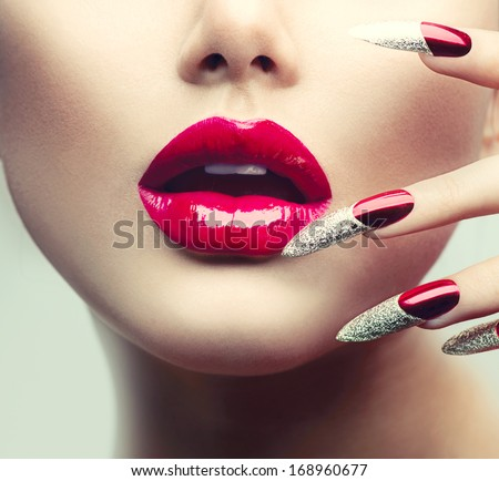 Makeup Manicure Red Long Nails Red Stock Photo Royalty Free