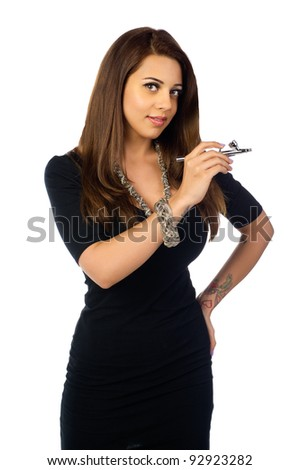 Makeup artist holding the tools of her trade