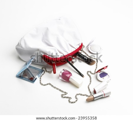 Makeup bag isolated on a white background - stock photo