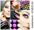 Makeup.Beautiful Make-up collage - stock