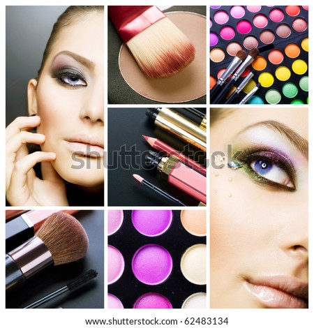 Makeup.Beautiful Make-up collage - stock photo