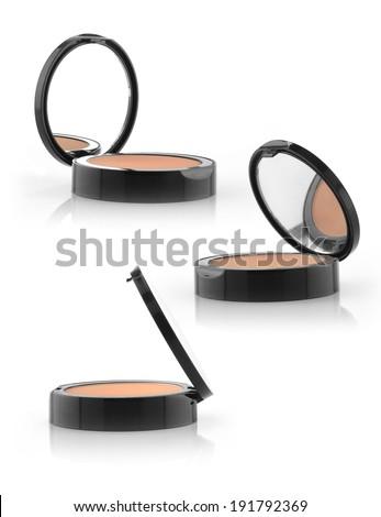 Makeup blush powder container on white background - stock photo