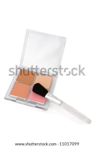 makeup brush and colorful cosmetics isolated on white
