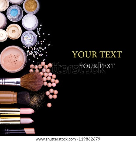 makeup brush and cosmetics - stock photo