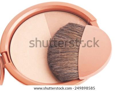 makeup brush and cosmetics - stock photo