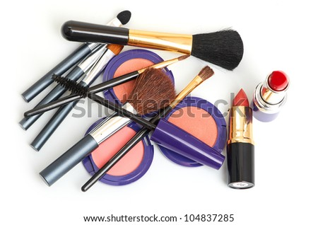 makeup brush and cosmetics isolated on a white background - stock photo