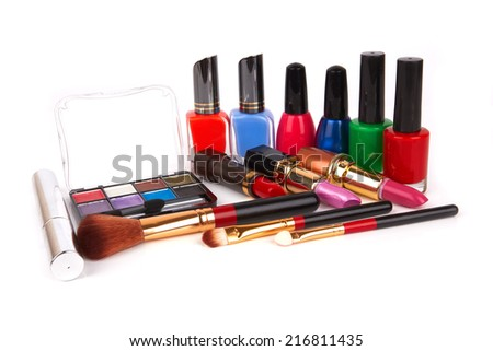 makeup brush and cosmetics, isolated on a white background  - stock photo