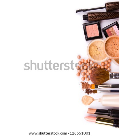 makeup brush and cosmetics, on a white background isolated - stock photo