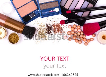 makeup brush and cosmetics, on a white background isolated, with clipping path
