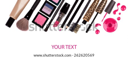 makeup brush and cosmetics, on a white background isolated, with clipping path - stock photo