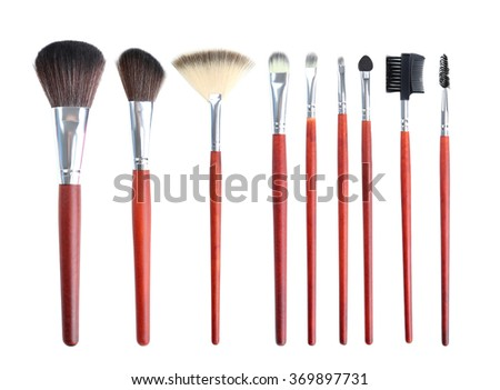 Makeup brush isolated on a white - stock photo