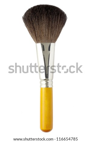 Makeup brush isolated on white background - stock photo