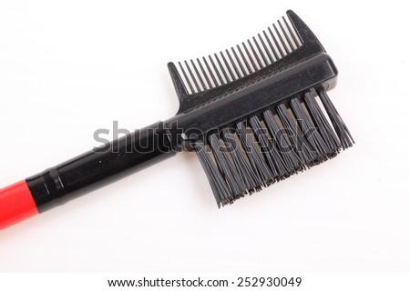Makeup brush on white background - stock photo