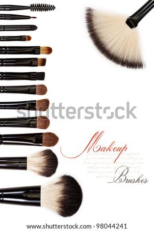 makeup brush set isolated on white background - stock photo