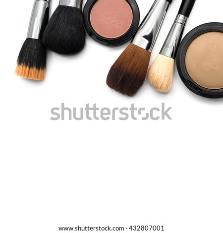Makeup brushes for face, pink blush and pressed powder isolated on white background with copy space - stock photo