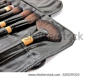 Makeup brushes in leather tool bag on white background.