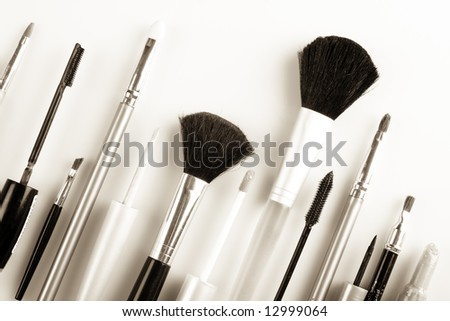 makeup brushes  on a white background isolated - stock photo
