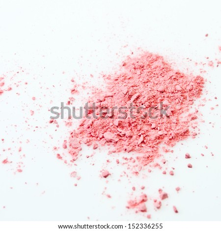 Makeup cheeks and eye. Pink Cosmetic powder on white background - stock photo