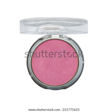 Makeup cheeks. Pink Cosmetic powder on white background with clipping paths. - stock photo