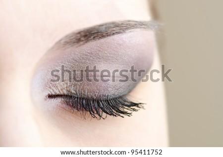 makeup close up eye - stock photo