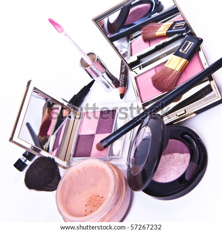 makeup collection on white background - stock photo