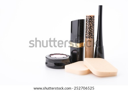 Makeup cosmetic isolated on white - stock photo