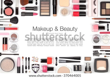 makeup cosmetics, brushes and other essentials on white background. flat lay frame composition with copyspace - stock photo